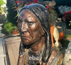 18 antique cigar store indian countertop display statue vtg chalkware tobacco