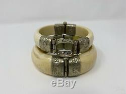 2 Antique Vintage Carved African Indian Bovine Bone Bangle Bracelet