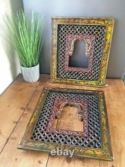 2 Vintage Fretwork Panels Indian Jali Work Picture Frames Ornate Decorative