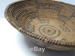 3 Color Western Apache Vintage Antique Indian Basket Tray Old Willow 3 Rod Coil