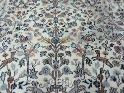 8' X 10' Vintage Hand Made Indian Wool Rug Hunting Bird TREE OF LIFE