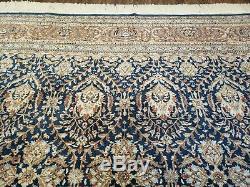 9' X 12' Vintage Hand Made Indian Agra Wool Rug Carpet Organic Blue Nice