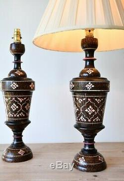 A Pair of Vintage Indian Hand Painted Wood Brass Hall Bed Side Table Lamps