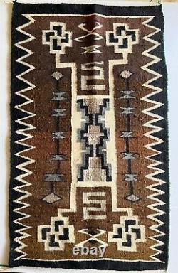 ANTIQUE Navajo Rug Native American Indian Weaving Vintage 46x27 Storm Pattern