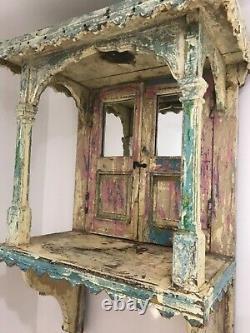ANTIQUE VINTAGE INDIAN WOODEN HOME HINDU TEMPLE/SHRINE/ALTAR MANDIR LARGE Rare