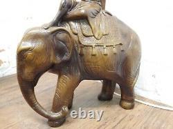 ANTIQUE / VINTAGE POTTERY / CERAMIC INDIAN BOY ON ELEPHANT LAMP Reg No 96914