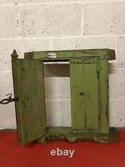 ANTIQUE VINTAGE SMALL INDIAN 19th CENTURY WOODEN WINDOW WITH ORIGINAL PAINT