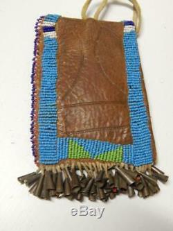 ANTIQUE VINTAGE STRIKE A LIGHT POUCH BAG c1880-1890s PLAINS SIOUX INDIAN BEADED