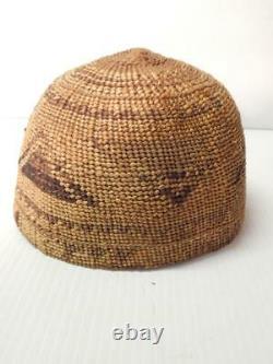 ANTIQUE VINTAGE YUROK (HUPA) INDIAN BASKET HAT NW CALIFORNIA xlnt condition