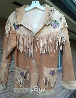 ANTIQUE VTG Leather Beaded And Indian Fringe Native American Western Jacket