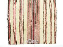 ANTIQUE Vintage NAVAJO NATIVE AMERICAN INDIAN RUG SADDLE BLANKET STRIPE 29x26