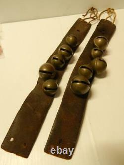 ANTIQUE c 1890s / VINTAGE KIOWA OKLAHOMA INDIAN HARNESS LEATHER ANKLE BELLS