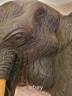Amazing Vintage Large Hand Carved Wooden Elephant Head Wall Hanging
