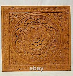 Antique Floral Mandala Wall Panel Teakwood Hand Carved Decor Vintage Plaque Art