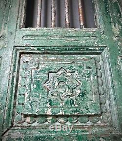 Antique Indian Jali Door. Carved Teak & Iron. Vintage Rajasthan. Jade & Vannila