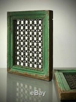 Antique Indian Jali Screen. Large Teak & Iron Pierced Screen. Vintage Rajasthan