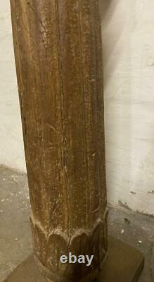 Antique Indian Pillar Column Candlestick Solid Wood Vintage Original 139cm