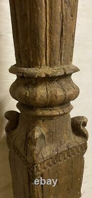Antique Indian Pillar Column Pedestal Solid Wood 157cm High Vintage Original