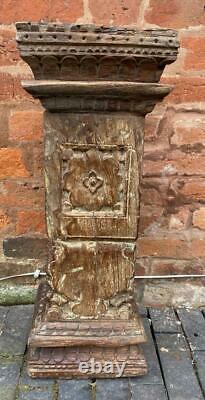 Antique Indian Pillar Column Pedestal Solid Wood 61cm High Vintage Original