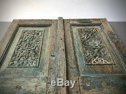 Antique Indian Shuttered Doors. Intricately Carved Teak. Vintage Rajasthan. Teal