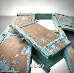 Antique Indian Shuttered Window Mirror. Vintage. Rare Double Version. Baby Blue