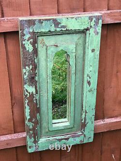 Antique Large Vintage Indian Arched Mughal Art Deco Mirror Teak Jade Green