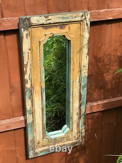 Antique Large Vintage Indian Arched Mughal Art Deco Mirror Teak Mustard Blue 2