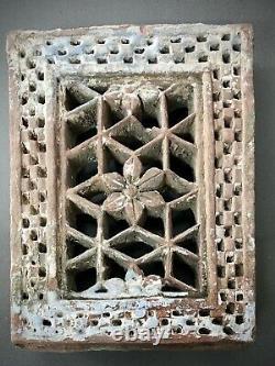 Antique, Mughal Sandstone Jali. Vintage Indian. Pierced Floral Motif. Jodhpur