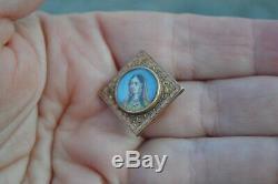 Antique Victorian handpainted Indian princess miniature portrait button stud vtg