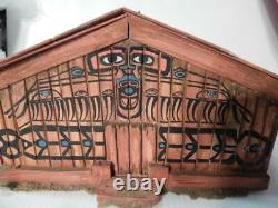 Antique / Vintage Alaska Canada Wood Nw Indian Model Longhouse / Plankhouse