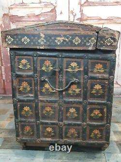 Antique Vintage Authentic Hand Painted Floral Indian Wooden Dowry Chest Trunk