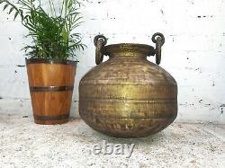 Antique Vintage Authentic Indian Large Hand Beaten Brass Water Pot Vase