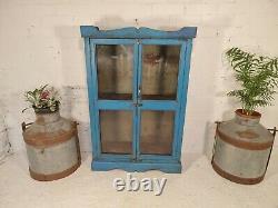 Antique Vintage Blue Indian Solid Wooden Glazed Display Bathroom Kitchen Cabinet