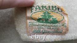 Antique Vintage Faribo like Hudsons Bay Blanket Striped Camp Cream Wool 54 x 70
