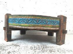 Antique Vintage Hand Painted Indian Spice Grinding Chakki Table Coffee Table