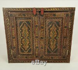 Antique Vintage Hand Painted Wall Hanging Indian Two Door Cabinet