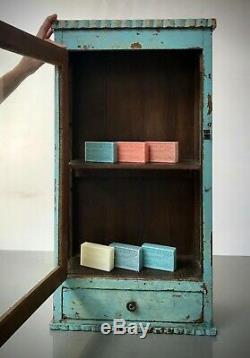 Antique Vintage Indian Art Deco Display Bathroom Cabinet. Baby Blue, Vanilla