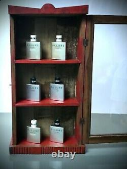 Antique Vintage Indian Art Deco Display Bathroom Cabinet. Distressed Vermillion