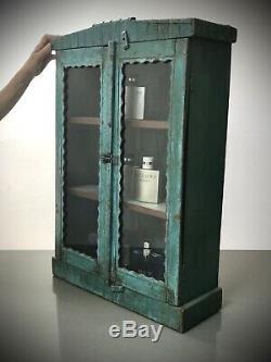 Antique Vintage Indian Art Deco Display Bathroom Cabinet. Turquoise