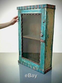 Antique Vintage Indian Art Deco Display Bathroom Cabinet. Turquoise, Coral