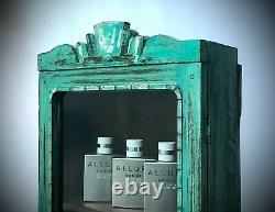Antique Vintage Indian Art Deco Display Bathroom Cabinet. Vibrant Peppermint