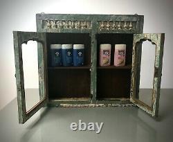 Antique Vintage Indian Art Deco Display Bathroom Kitchen Cabinet. Jade & Vanilla