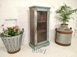Antique Vintage Indian Blue Wooden Glazed Display Bathroom Kitchen Cabinet