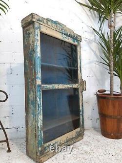 Antique Vintage Indian Blue Wooden Glazed Display Wall Bathroom Kitchen Cabinet