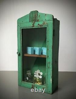 Antique Vintage Indian Cabinet. Art Deco. Display / Bathroom. Distressed Jade