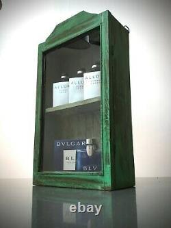 Antique Vintage Indian Cabinet. Art Deco. Display / Bathroom. Jade & Pale Sage