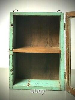 Antique Vintage Indian Cabinet. Art Deco. Display/ Bathroom/ Kitchen. Eau De Nil