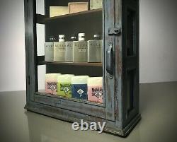 Antique Vintage Indian Cabinet. Art Deco Display, Bathroom, Kitchen. Lilac Grey
