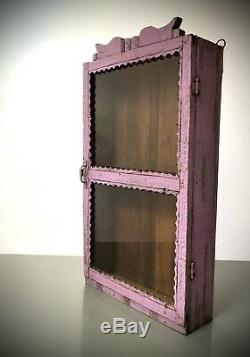 Antique Vintage Indian Cabinet. Art Deco. Display / Bathroom. Lilac Over Jade