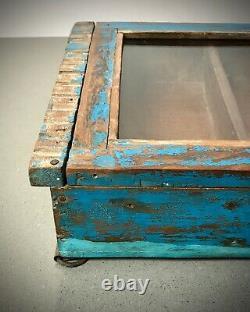 Antique Vintage Indian Cabinet. Art Deco. Display / Bathroom. Sapphire Blue